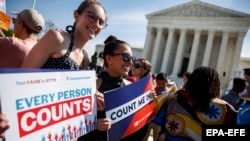 U.S. -- Activists protest against a citizenship question on the 2020 census in front of the Supreme Court in Washington, DC, USA, 23 April 2019.