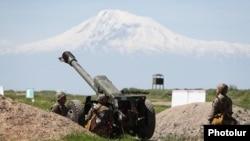 Artillery drills at Armenia's Vazgen Sargsian Military University in Yerevan, May 19, 2020