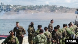 Russian marines of the Black Sea Fleet in Sevastopol on April 12