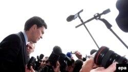 Дэйвід Мілібэнд перад журналістамі, 28 жніўня
