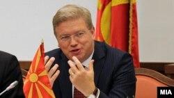 Обраќање на еврокомесарот за проширување Штефан Филе пред Националниот совет за евроинтеграции во Собранието на Република Македонија.