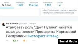 Эдил Байсалов твиттерге жазган билдирүү.