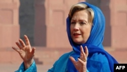 U.S. Secretary of State Hillary Clinton at the historic Badshahi Mosque in Lahore.