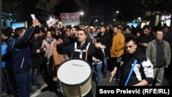 Several thousand protesters rally in the center of Podgorica demanding the resignations of the leaders of the Montenegrin state, government and judiciary on February 16.