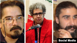 Iranian writers, Reza Khandan Mahabadi, Baktash Abtin, and Keyvan Bajan. File photos
