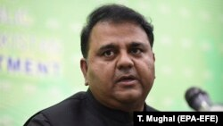 Federal Information Minister Fawad Chaudhry (above) said that Razi had been arrested for social-media postings that allegedly violated Pakistan's Prevention of Electronic Crimes Act.