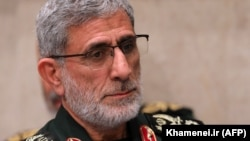 The newly appointed commander of the Quds Force of the Islamic Revolutionary Guard Corps, Ismail Qaani, attends a mourning ceremony for Major General Qasem Soleimani in Tehran on January 9.