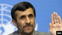 President Mahmud Ahmadinejad after his speech at the Durban Review Conference in Geneva