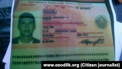 Ozodlik tasarrufidagi hujjatlar orasida Sobir Shukurov nomiga berilgan Rossiya pasporti nusxasi ham bor.
