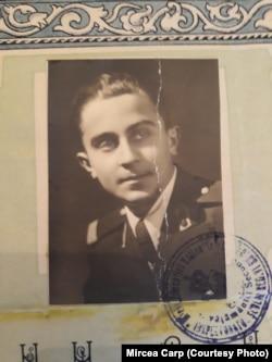 """Mircea Carp, foto de pe Diploma de Bacalaureat de la Liceul Militar """"Nicolae Filipescu"""", Mănăstirea Dealu"""