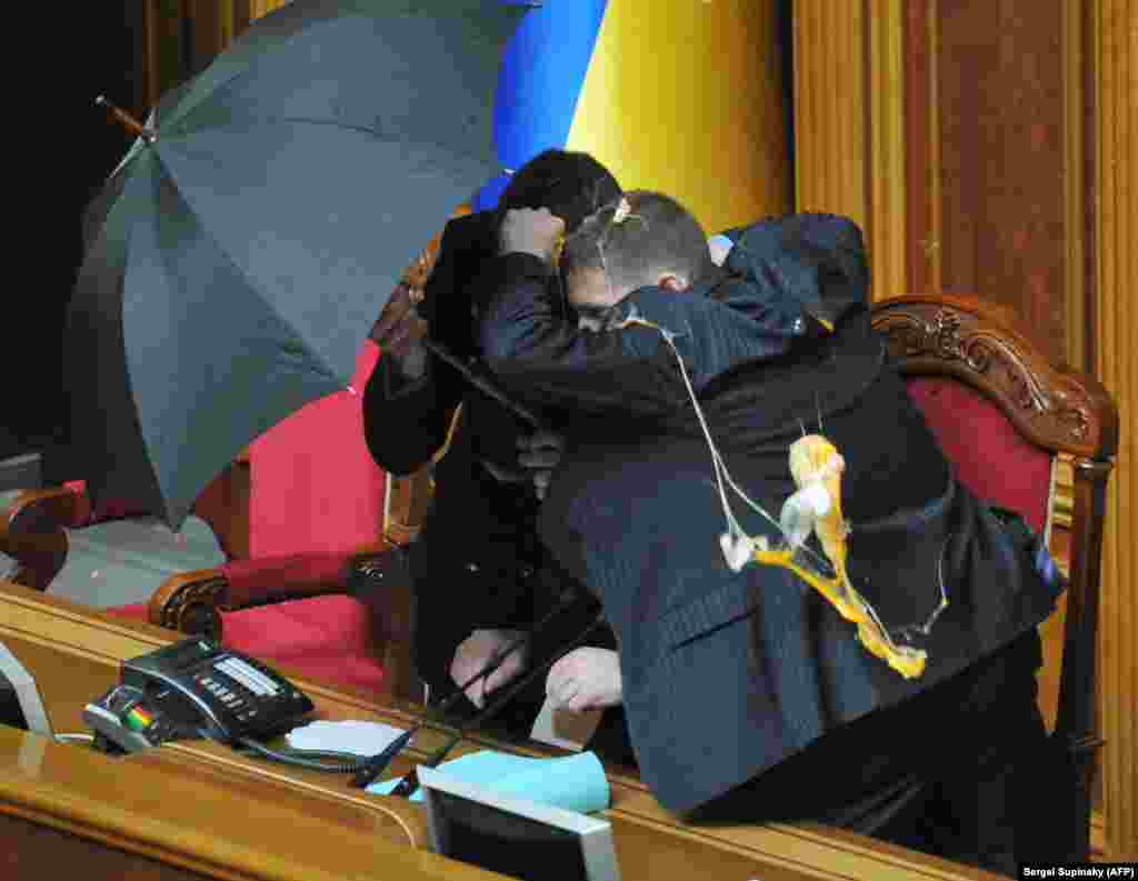 A hard rain fell inside parliament during the April 2010 uproar, but Russia's lease of the Crimean base ultimately became a secondary issue when Moscow illegally annexed the entire peninsula in 2014.