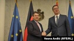 Predsednik Srbije Aleksandar Vučić i šef njemačke diplomatije Zigmar Gabrijel u Beogardu 14. februara 2018.