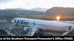 Фото, сделанной после экстренной посадки одного из самолетов Utair в Сочи в сентябре 2018