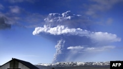 A cloud of smoke and ash is seen over the Grimsvotn volcano on May 21.