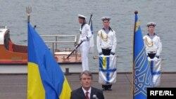 Президент Віктор Ющенко виступає на Графській пристані, День флоту України, Севастополь, 5 липня 2009