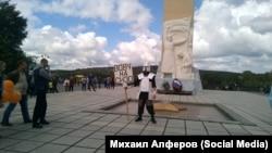 Пикет Михаила Алфёрова в Кемерове