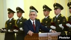 Armenia - President Serzh Sarkisian gives a speech at the presidential palace in Yerevan, 21Mar2014.