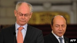 Președintele Consiliului European Herman Van Rompuy și peședintele Traian Băsescu.