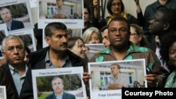 U.K. - BBC journalists protest against arrest of their colleague Urinboy Usmonov in Tajikistan, London, 22Jun2011
