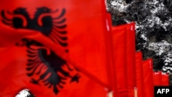 Albanian flags in the town of Kacanik, Kosovo