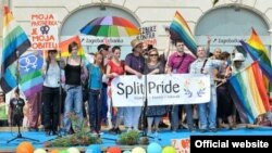 A scene from the Split Pride parade for gay rights in Split, Croatia, on June 9