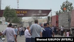 The Dostuk border checkpoint between Uzbekistan and Kyrgyzstan