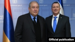 Президент Армении Армен Саркисян и председатель Кнессета Израиля Йоэль Эдельштейн