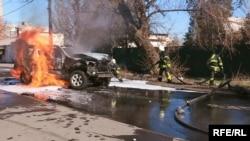 Місце вибуху автомобіля, внаслідок якого загинув начальник Головного відділу контррозвідки Донецького управління СБУ Олександр Хараберюш, Маріуполь, 31 березня 2017 року