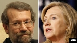U.S./Iran -- Secretary of State Hillary Clinton (R) and Parliament speaker Ali Larijani,