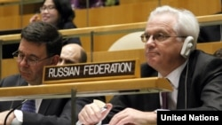 Russia's deputy UN envoy, Igor Pankin (right), says the resolution was sent to the council's other 14 members ahead of a briefing on July 11 by UN-Arab League envoy Kofi Annan on efforts to revive his peace plan.