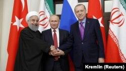 Хасан Роухани, Владимир Путин и Реджеп Эрдоган провели встречу в Сочи, 22 ноября 2017 года