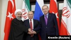 Президенттер Роухани, Путин жана Эрдоган Сочидеги жолугушууда. 22-ноябрь, 2017-жыл.