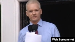 WikiLeaks founder Julian Assange made his first public statement since entering Ecuador's London embassy from the embassy's balcony on August 19.