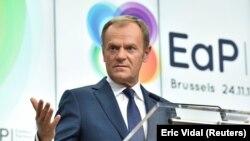 Председателят на Европейския съвет Доналд Туск по време на среща за Източното партньорство през 2017.