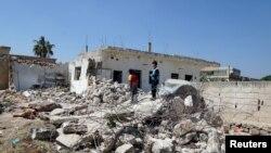 Сирійське місто Аль-Ядуда після застосування бочкових бомб, 2 травня 2015