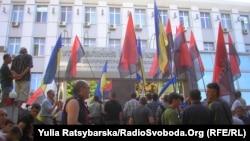 Пікет біля будівлі управління МВС у Дніпропетровську, 21 травня 2014 року
