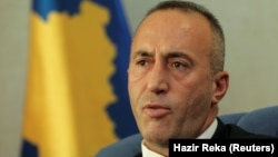 Kosovo's prime minister, Ramush Haradinaj, talks during an interview with Reuters in Pristina in October.