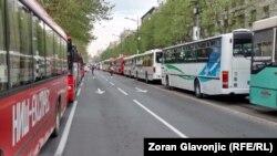 Autobusi parkirani u Bulevaru kralja Aleksandra