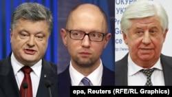 Presidenti i Ukrainës, Petro Poroshenko, kryeministri Arseniy Yatsenyuk dhe prokurori i përgjithshëm, Viktor Shokin.