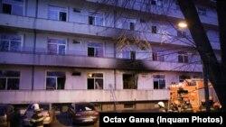 A bukaresti Matei Bel kórház a tűz eloltása után, 2021. január 29-én.