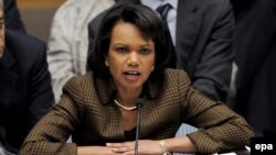 U.S. - US Secretary of State Condoleezza Rice speaks during an UN Security Council meeting about piracy off the coast of Somalia at UN headquarters in New York, 16Dec2008