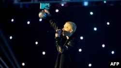 Netherlands -- US singer Eminem performs during the MTV Europe Music Awards (EMA) 2013 ceremony in the Ziggo Dome, in Amsterdam on November 10, 2013.