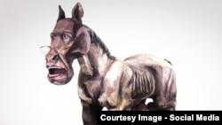 Малюнок пам'ятника міністрові закордонних справ Росії Сергію Лаврову у Запоріжжі