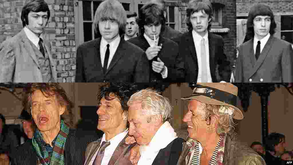 A combo photo shows the Stones in 1965 (top) and in 2008.