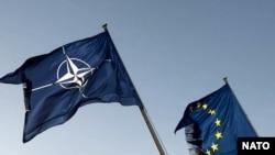NATO and EU flags - generic photo