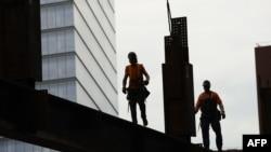 На строительной площадке мемориального комплекса в Нью-Йорке