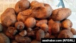 Türkmen bazarlarynda satylýan kartoşkalar