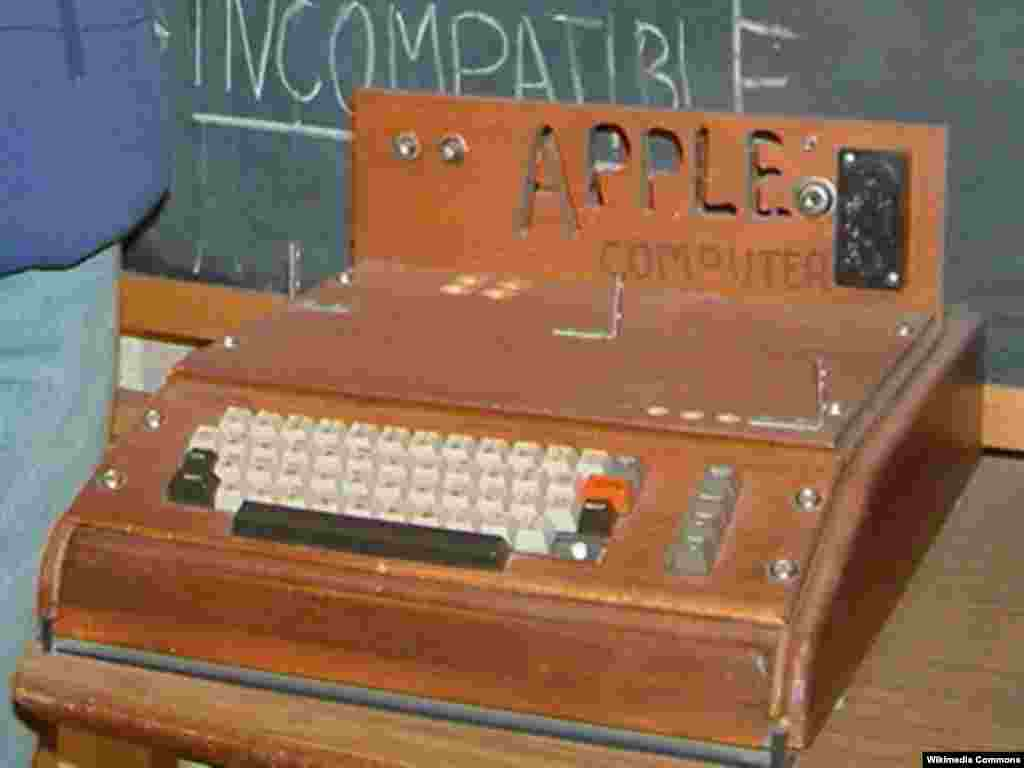 Apple's first product, the Apple I, designed and built by Steve Wozniak and Steve Jobs and shown in April 1976 at the Homebrew Computer Club in Palo Alto, California.