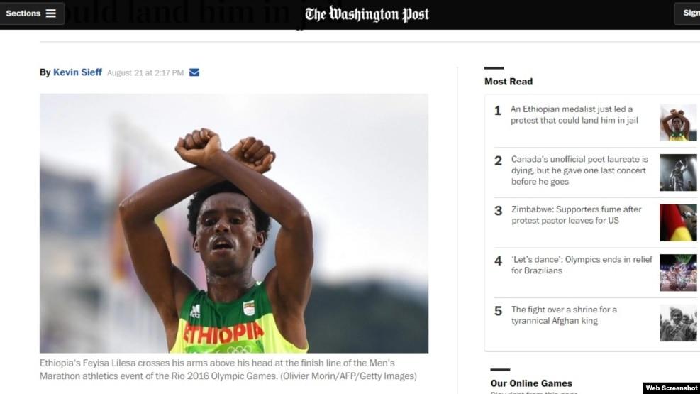 Efiopiyalının Olimpiya etirazı