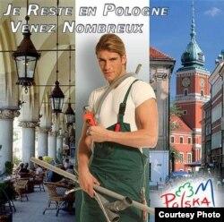 """Страх западноевропейцев перед нашествием """"польских водопроводчиков"""" Польша в 2005 году шутливо обыграла в рекламной кампании для туристов"""